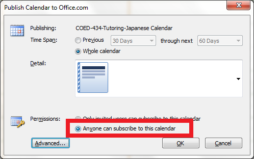 how to make sure calendar links open in outlook