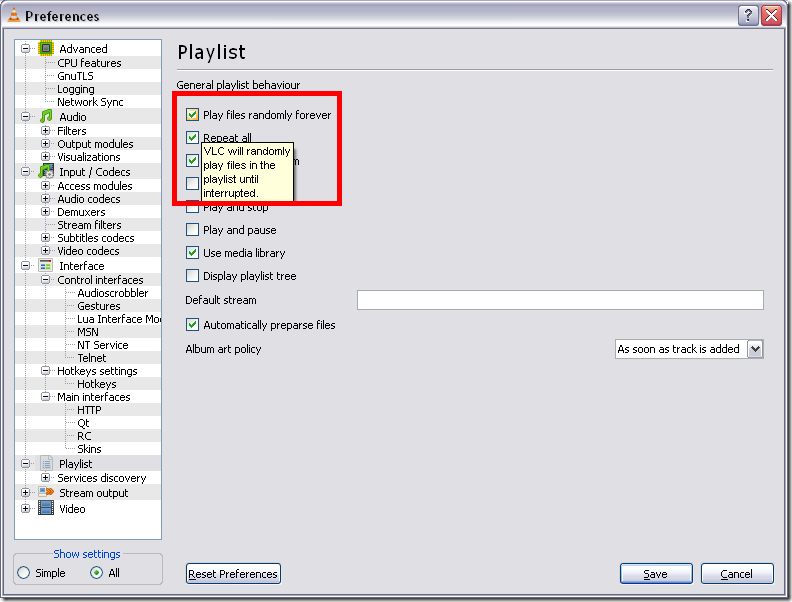 vlc-player-tools-preferences-advanced-playlist-repeat-checkboxes