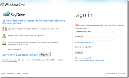 skydrive live com uncc.edu staff cannot get in