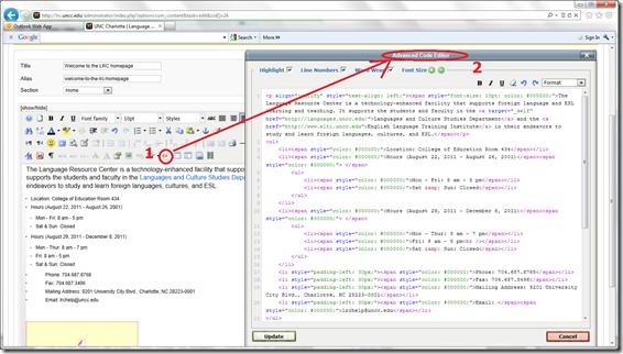joomla edit code meaning html