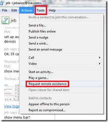 messenger menu bar tools request remote assistance