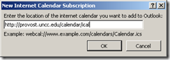 ooutlook calendar add url