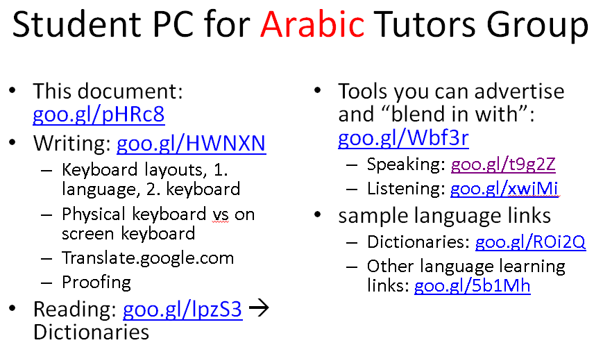 categories arabic audience is language learning center temp staff dictionaries e languages listening reading service is tutoring speaking training