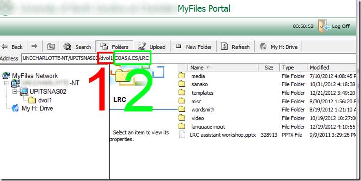 how the sanako looks like in DriveS DVOL1  COAS  LCS  LRC  UNCC myfiles portal