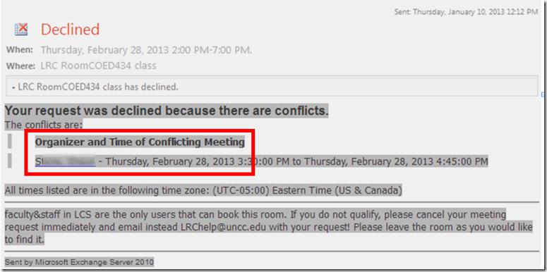 room attendant response denied prior booking