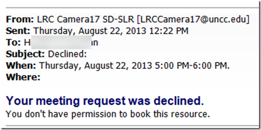resource booking attendant declines per user you dont have permission to book this resource